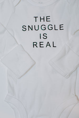 "Load image into Gallery viewer, ""The Snuggle Is Real"" Long Sleeve Bodysuit // White (Newborn)"