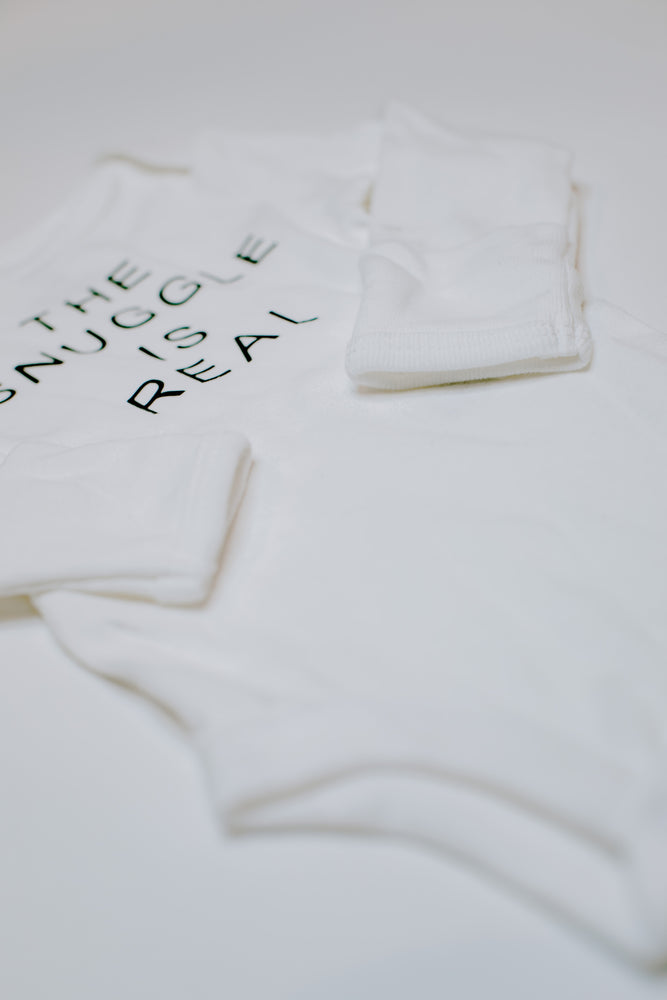 """The Snuggle Is Real"" Long Sleeve Bodysuit // White (Newborn)"