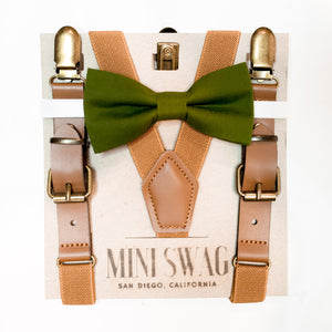 Bow Tie & Leather Suspenders Set // Moss Green & Camel