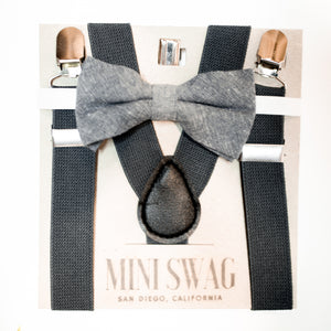 Bow Tie & Suspenders Set // Gray