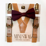 Bow Tie & Leather Suspenders Set // Wine & Camel