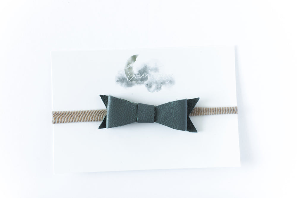 Leather Bow Headband // Gray