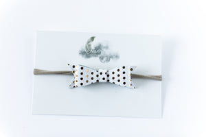 Leather Bow Headband // White & Gold Polka Dot