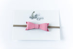 Leather Bow Headband // Light Pink