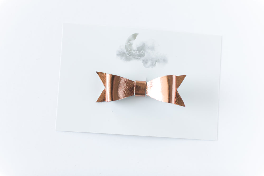 Leather Bow Clip // Copper