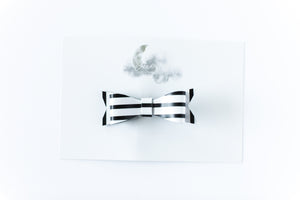 Leather Bow Clip // Black & White Stripe