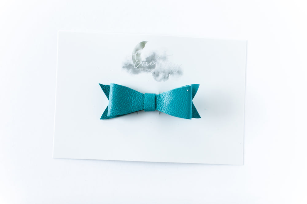 Leather Bow Clip // Teal