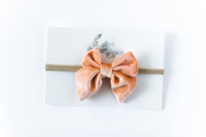 Velvet Bow Headband // Peach