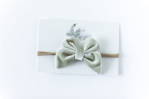 Velvet Bow Headband // Cream