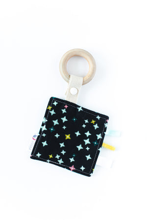 Navy Stars Wooden Sensory Teether (Organic)