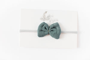 Gauze Bow Headband // Blue-Grey