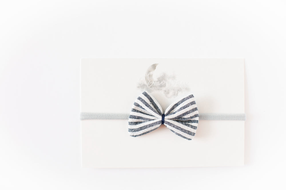 Load image into Gallery viewer, Gauze Bow Headband // Navy & White Stripe