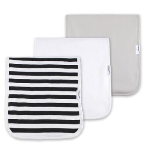 Load image into Gallery viewer, Trendy Necessity Burp Cloth - BlackStripes/Taupe
