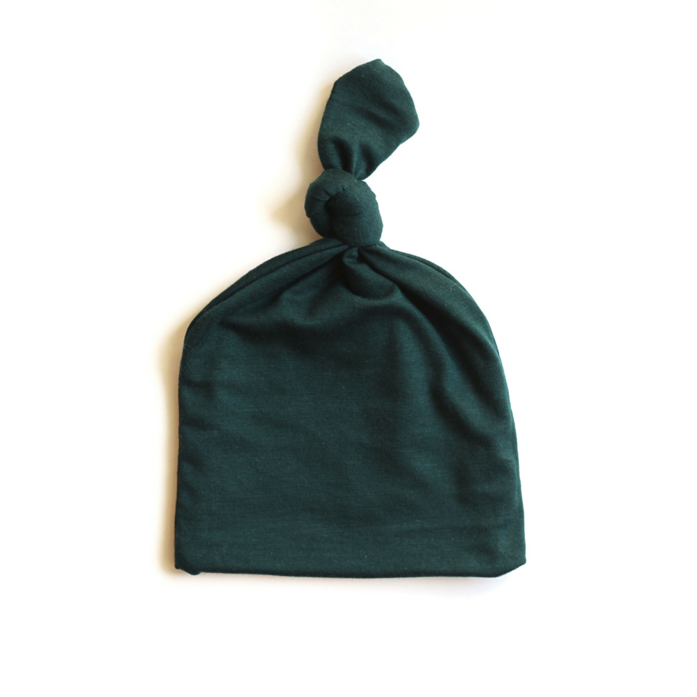 Load image into Gallery viewer, Top Knot Baby Hat // Dark Green (0-3 months)