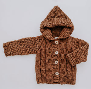 Knit Hooded Coat Sweater // Pecan