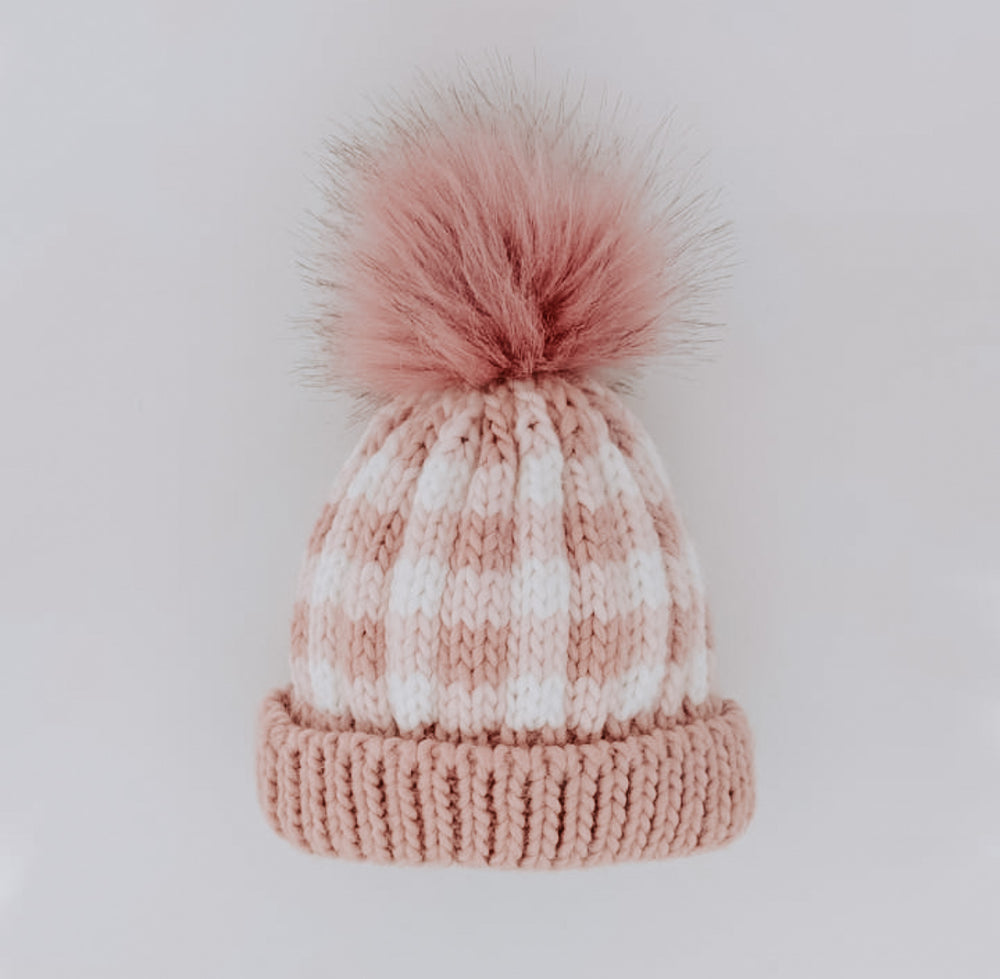 Load image into Gallery viewer, Buffalo Knit Pom Pom Beanie // Rosy Pink