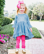 High Low Ruffle Tunic // Denim