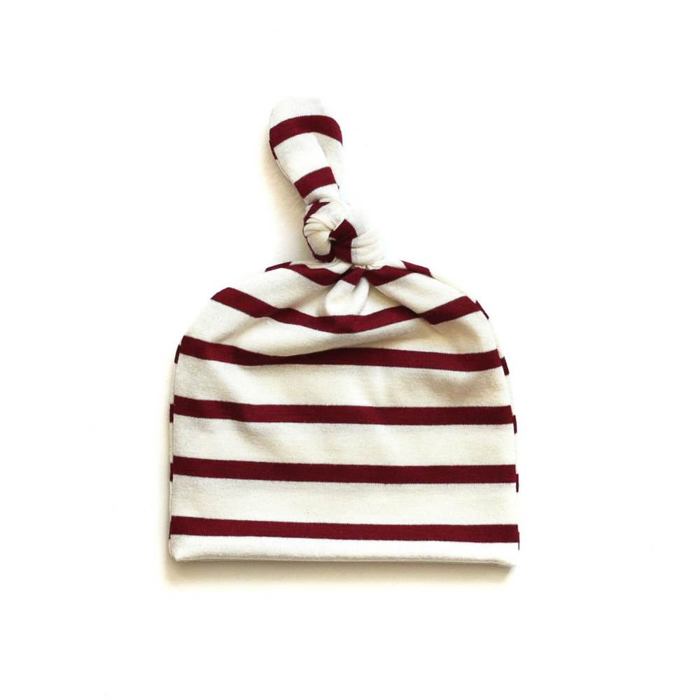 Top Knot Baby Hat // Ruby Red & Cream (0-3 months)
