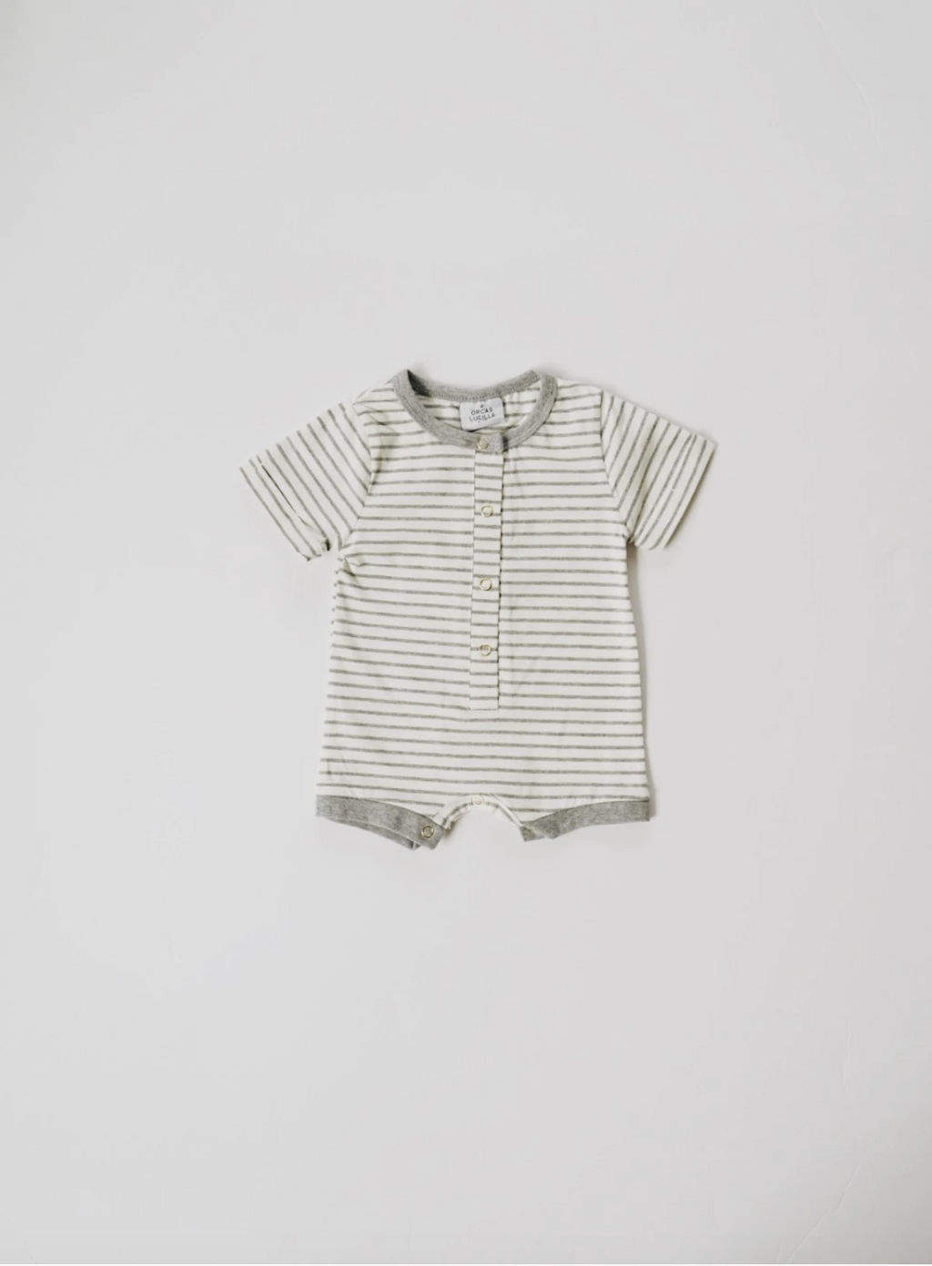 Shortie Romper // Gray Stripe