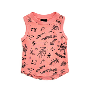 Vacay All Day Graphic Tank // Pink Coral