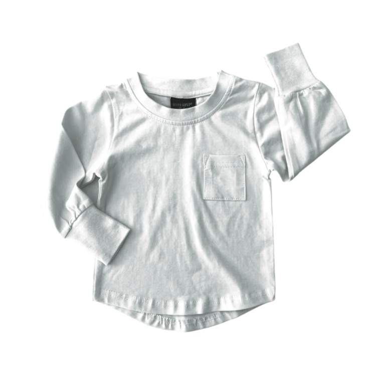 Load image into Gallery viewer, Long Sleeve Pocket Tee // White