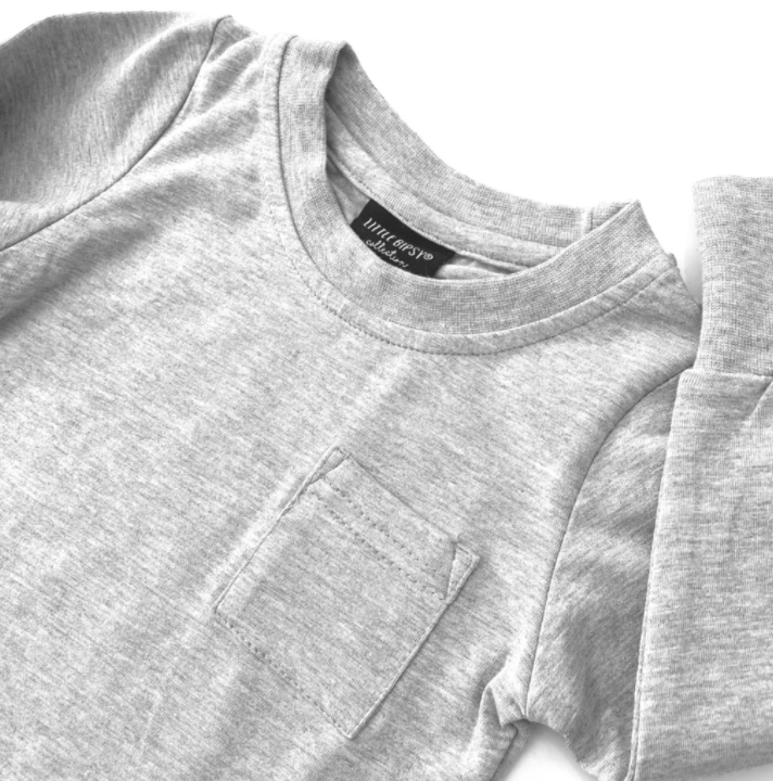 Long Sleeve Pocket Tee // GREY