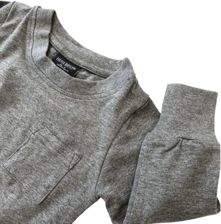 Long Sleeve Pocket Tee // CHARCOAL