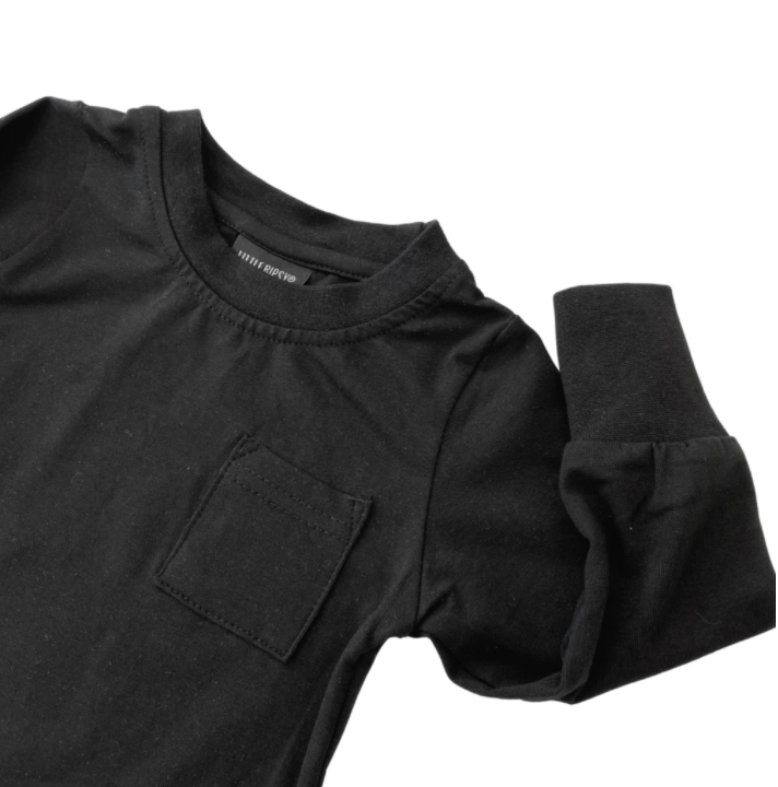 Long Sleeve Pocket Tee // BLACK