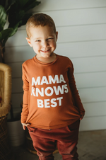 """Mama Knows Best"" Long Sleeve Tee // Rust"