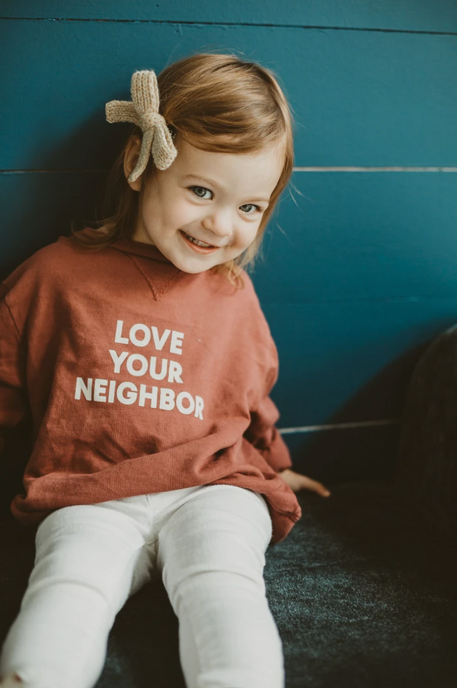 "Load image into Gallery viewer, ""Love Your Neighbor"" Sweatshirt // Rust"