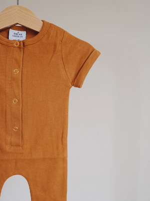 Ribbed Henley Romper // Autumn Maple