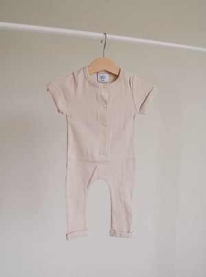 Load image into Gallery viewer, Ribbed Henley Romper // Almond