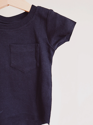 Ribbed Pocket Tee // Black