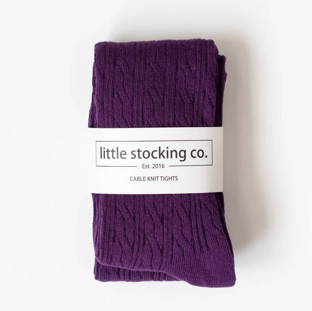 Cable Knit Tights // Plum Purple