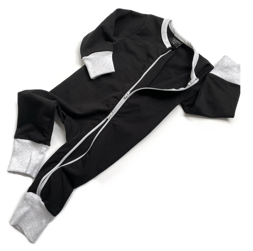 2-WAY ZIP ROMPER // BLACK & GREY