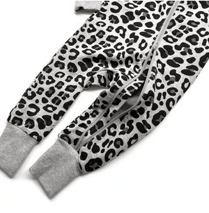 Load image into Gallery viewer, 2-WAY LEOPARD ZIP ROMPER // GREY
