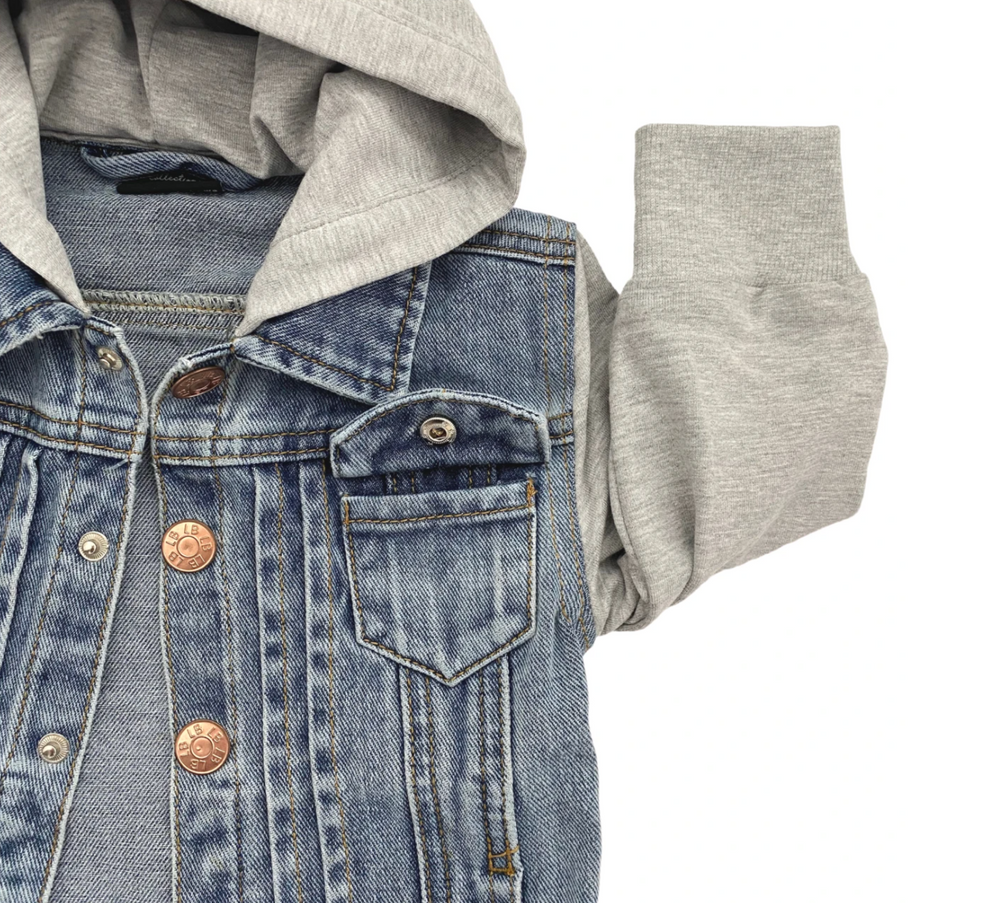 COMING SOON! Hooded Denim Jacket // Grey