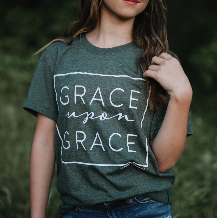 "MAMA // ""Grace Upon Grace"" Tee // Forest Green"