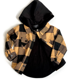 Load image into Gallery viewer, Hooded Flannel // Mustard & Black