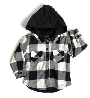 Hooded Flannel // White & Black
