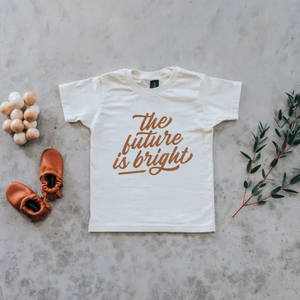 """The Future Is Bright"" Kids Tee // Cream w/ Camel"