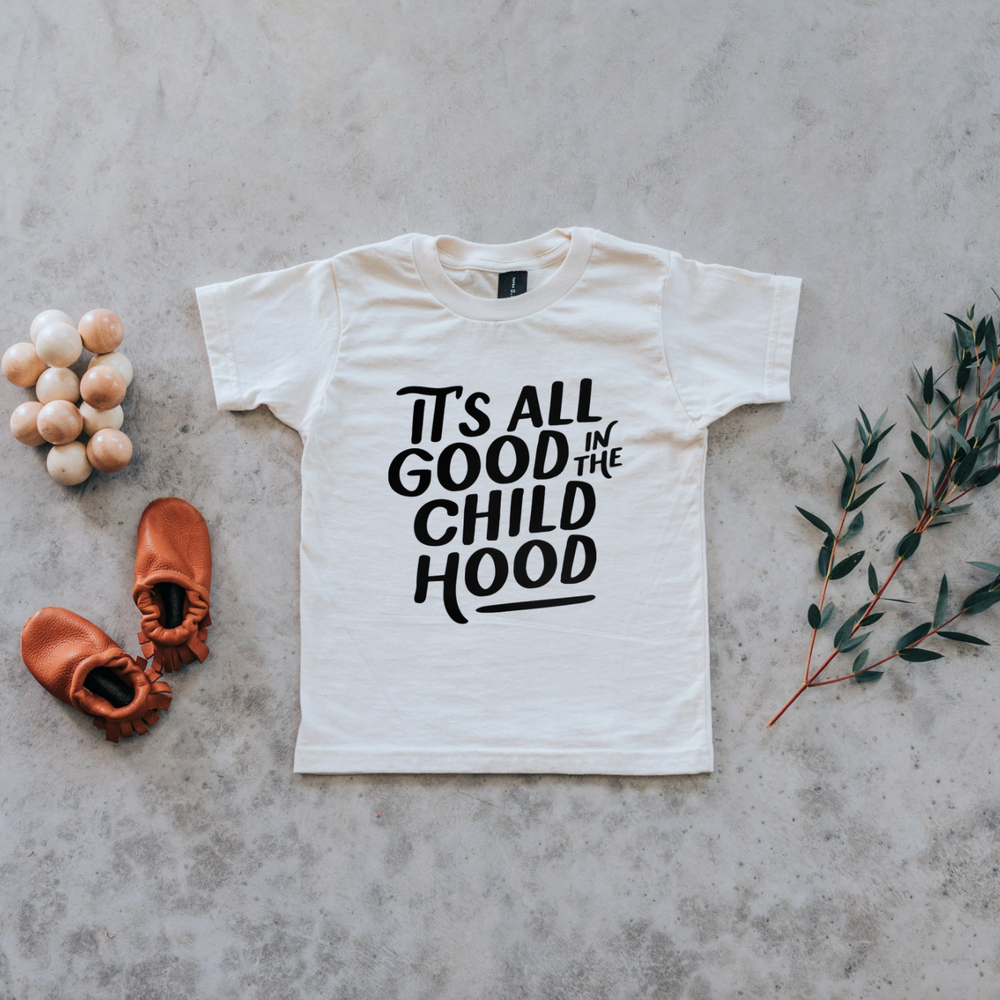 """It's All Good in the Childhood"" Kids Tee // Cream w/ Black"