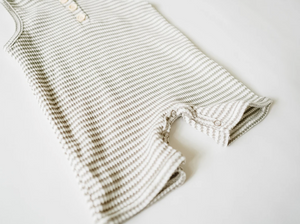 Load image into Gallery viewer, Hoodie Shortie Romper // Grey + White Stripe