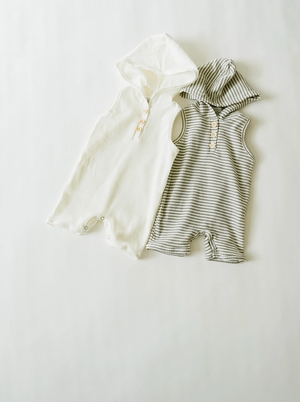 Hoodie Shortie Romper // Grey + White Stripe