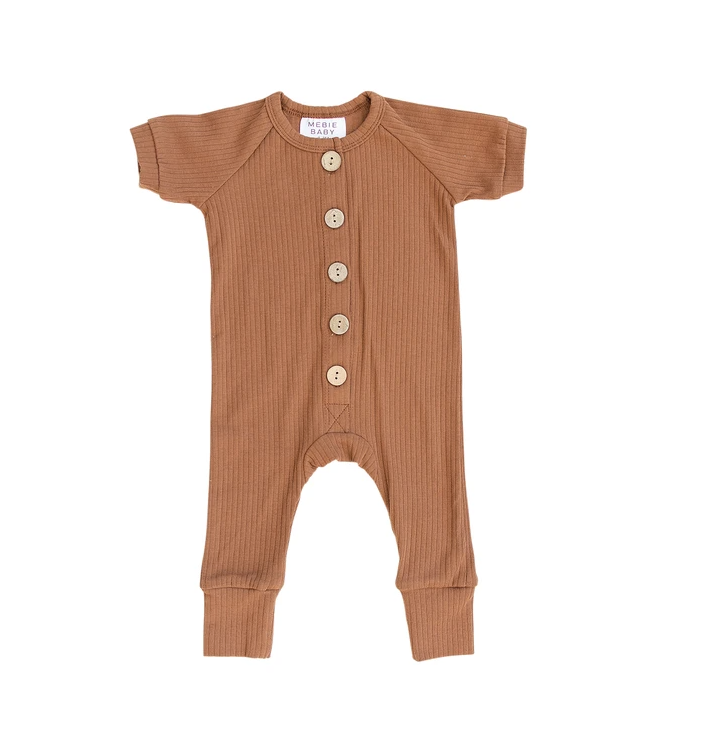 Load image into Gallery viewer, Ribbed Short Sleeve Cotton Romper // Honey