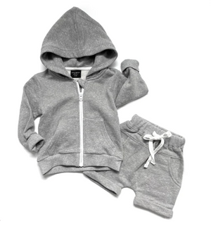 Washed Zip Hoodie // Grey