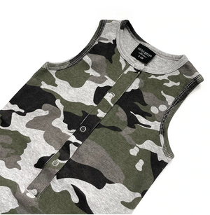 Ribbed Shorty Romper // Camo