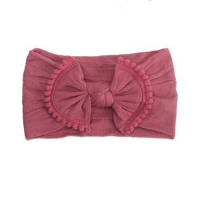 Load image into Gallery viewer, Pom Pom Knot Headband // Raspberry