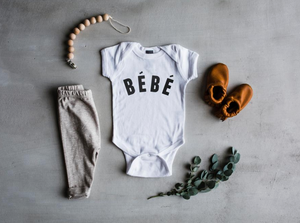 "Load image into Gallery viewer, ""Bébé"" Bodysuit // White"