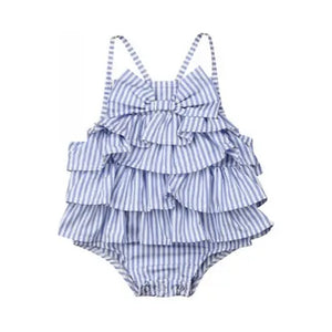 Ruffle Bow Romper // Blue Stripe